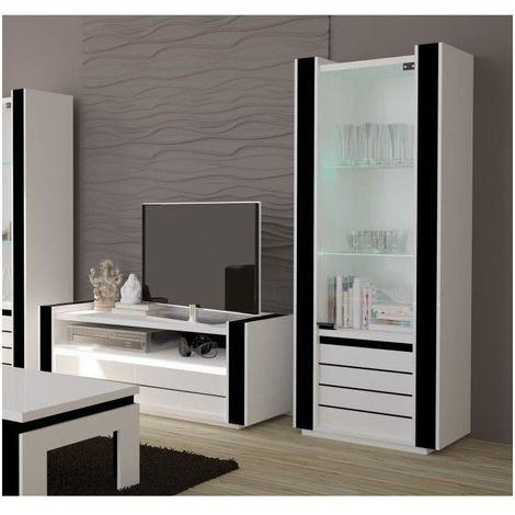 Ensemble Pour Votre Salon Lina Meuble Tv Hifi Vitrine Petit Modele Led Meubles Design Haute Brillance Blanc 143
