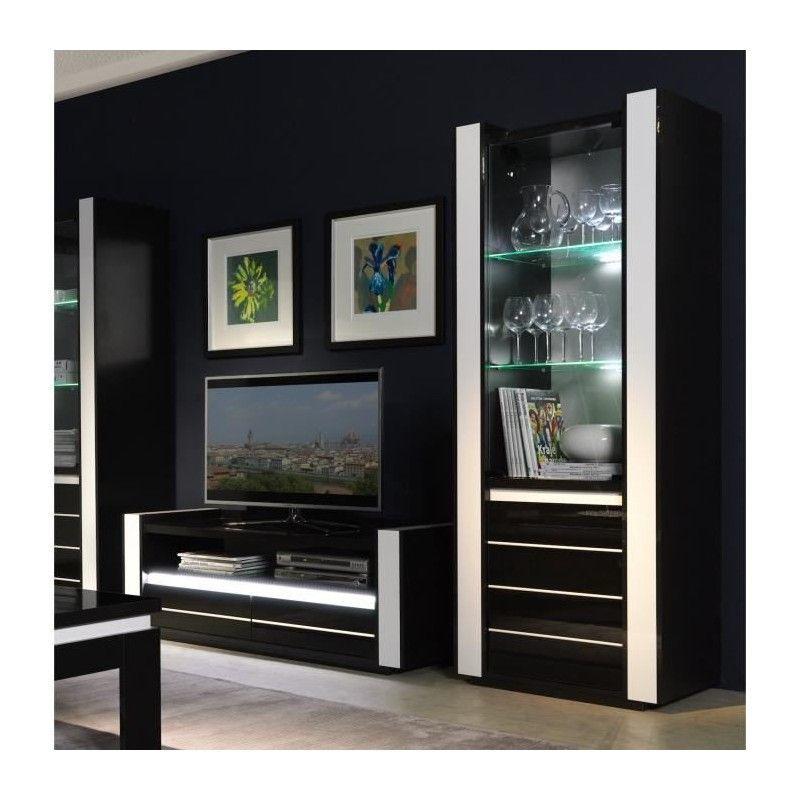 Ensemble Pour Votre Salon Lina Meuble Tv Hifi Vitrine Petit Modele Led Meubles Design Haute Brillance Noir 144