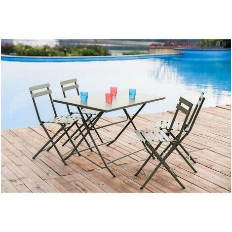Ensemble repas de jardin 4 personnes - Table pliante 110 x 70 cm + 4 chaises - Acier thermolaqué - Gris - HIENO