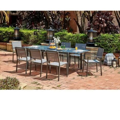 Ensemble repas de jardin 6 a 8 personnes Alu.- Table extensible 180/240x100cm + 6 chaises et 2 fauteuils et assise textilene …