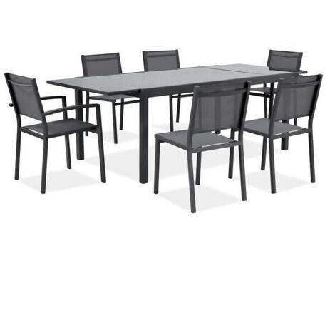 Ensemble repas de jardin 6 a 8 personnes - Table aluminium extensible 180-240 cm + 6 chaises aluminium et assise textilene - …