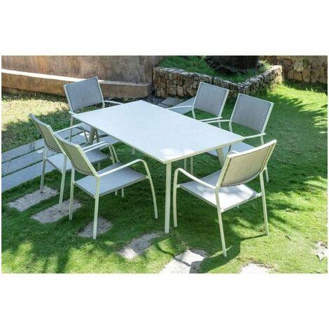 Ensemble repas de jardin 6 personnes effet ciment - table 180 cm + 1 lot de 6 chaises - RIMINI