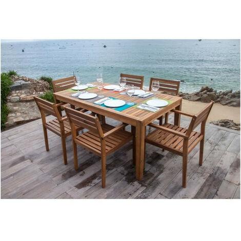 Ensemble repas de jardin 6 personnes - table 160x90cm et 6 fauteuils - Bois Acacia