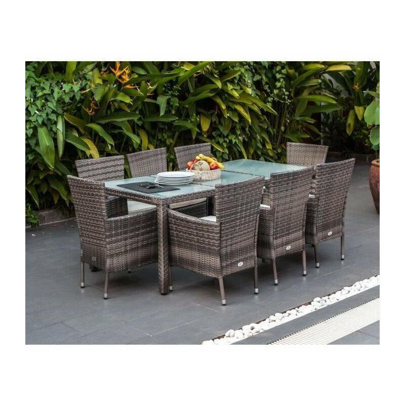 Ensemble repas de jardin 8 personnes- Table 190x90cm + 8 fauteuils - plateau verre trempé et structure résine tressée - Gris …