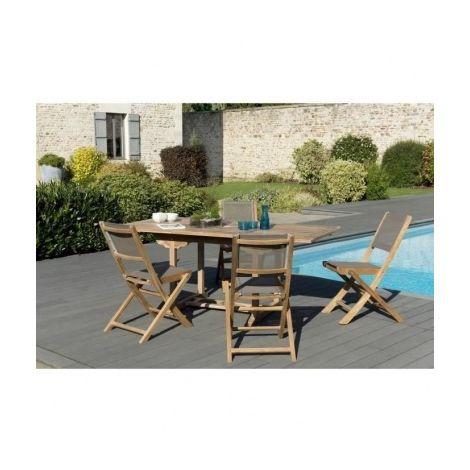 Ensemble Repas de jardin en teck Bora - 1 table rectangulaire 120 ...