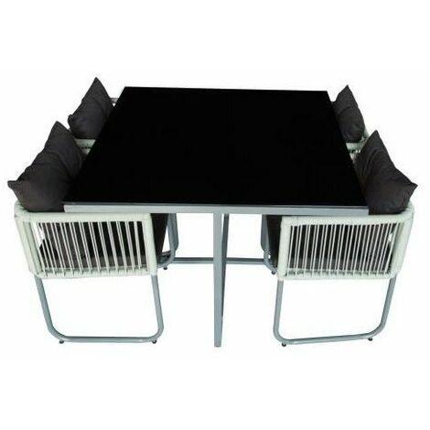 Ensemble repas de jardin encastrable 4 personnes- table 110x110 plateau en verre + 4 fauteuils - Noir - POLYTA