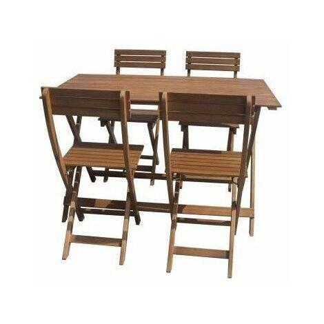 Ensemble repas de jardin pliable 4 places - table 120x70cm et 4 chaises - En bois deucalyptus