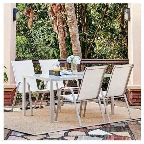 Ensemble repas de jardin - table 140 cm en acier et 6 fauteuils - Blanc