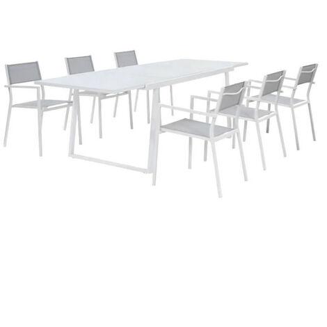 Ensemble repas de jardin - table extensible 160-240 cm et 6 fauteuils - Structure aluminium - Blanc