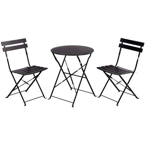 Ensemble rétro 2 chaises + table pliante pour le jardin, le balcon, la véranda et la terrasse - Ensemble de mobilier d'extérieur en acier inoxydable. Couleur noire.