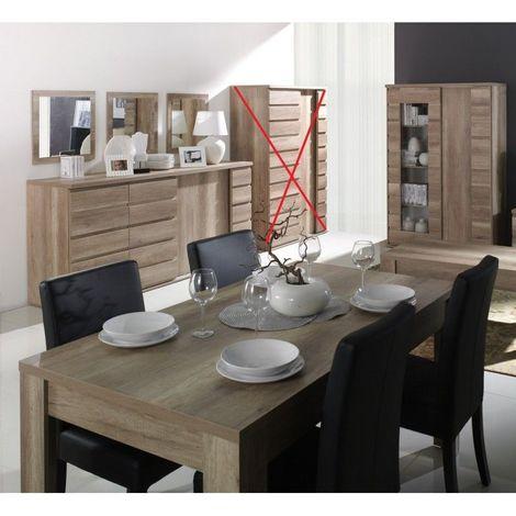 Ensemble ROMI pour salle à manger. Buffet, vaisselier, miroirs, table 160 cm - Marron