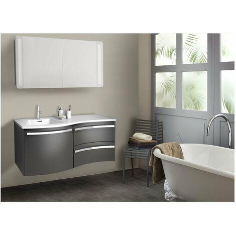 Ensemble salle de bain 120 cm meuble + vasque + armoire LED POLY
