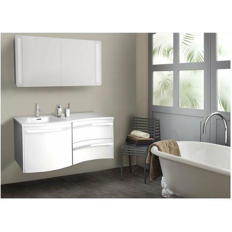 Ensemble salle de bain 120 cm meuble blanc + vasque blanche ...