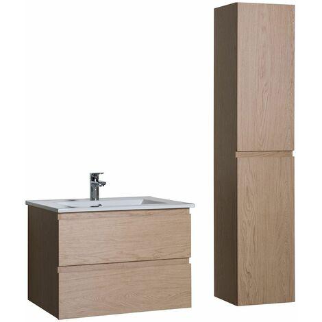 Ensemble salle de bain 60 cm meuble sous-vasque + colonne chêne ...