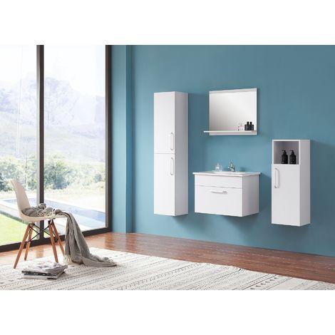 Ensemble salle de bain 60cm simple vasque meubles de salle de bain 5 pièces 1 tiroir couleur: blanc