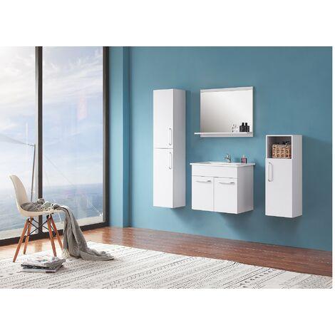 Ensemble salle de bain 60cm simple vasque meubles de salle de bain 5 pièces 2 portes couleur: blanc