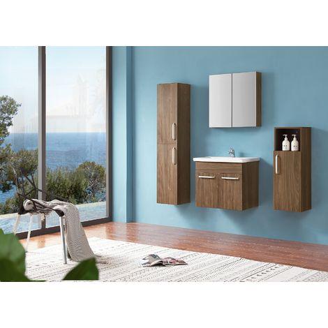 Ensemble salle de bain 60cm simple vasque meubles de salle de bain 5 pièces 2 portes couleur: Oskar chêne