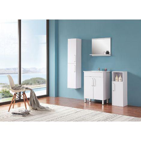 Ensemble salle de bain 60cm simple vasque meubles de salle de bain 5 pièces 2 portes sur pieds couleur: blanc