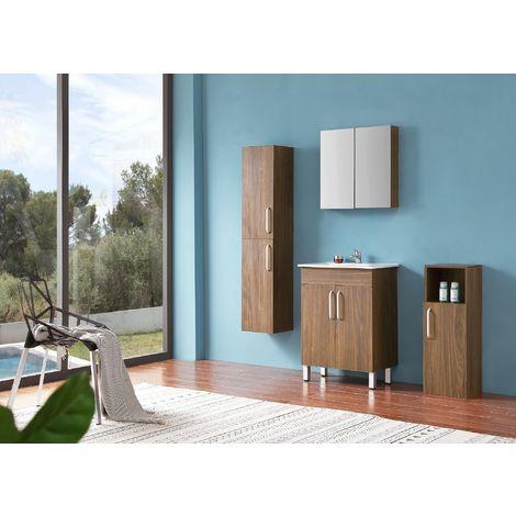 Ensemble salle de bain 60cm simple vasque meubles de salle de bain 5 pièces 2 portes sur pieds couleur: Oskar chêne