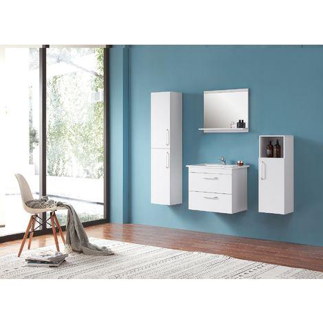 Ensemble salle de bain 60cm simple vasque meubles de salle de bain 5 pièces 2 tiroirs couleur: blanc