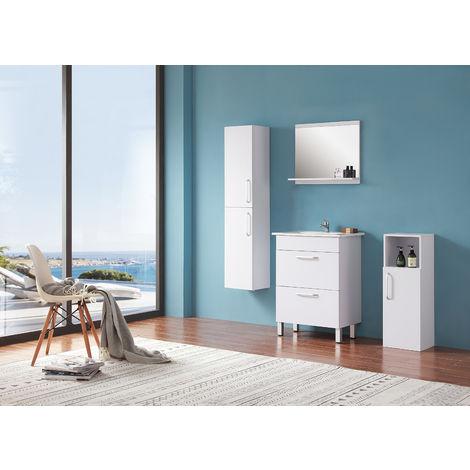 Ensemble salle de bain 60cm simple vasque meubles de salle de bain 5 pièces 2 tiroirs sur pieds couleur: blanc