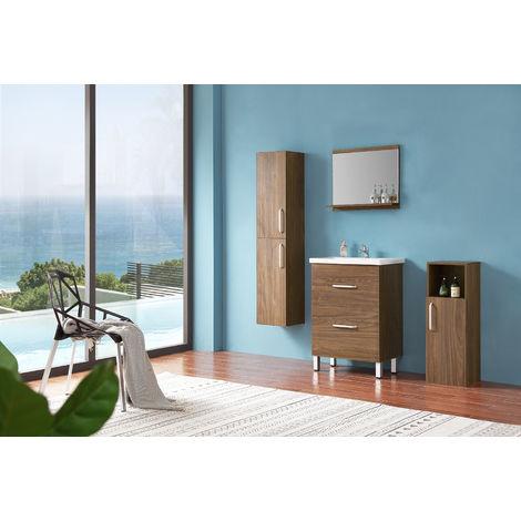 Ensemble salle de bain 60cm simple vasque meubles de salle de bain 5 pièces 2 tiroirs sur pieds couleur: Oskar chêne