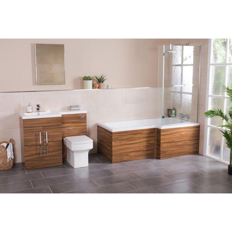 Ensemble salle de bain avec baignoire L + meuble lavabo avec WC gauche -  Effet noyer