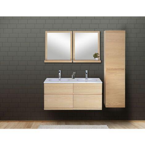 Ensemble salle de bain chêne 120 cm meuble + vasque + 2 miroirs + colonne ENIO - Bois Clair