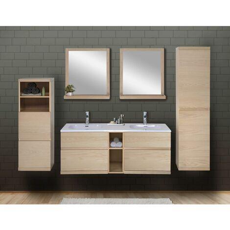 Ensemble salle de bain chêne 140 cm meuble + vasque + 2 miroirs + 2 colonnes ENIO - Bois Clair