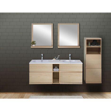 Ensemble salle de bain chêne 140 cm meuble + vasque + 2 miroirs + demi-colonne ENIO - Bois Clair