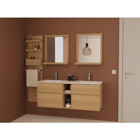 Ensemble salle de bain chêne 140 cm meuble + vasque + 2 miroirs + module rangement ENIO