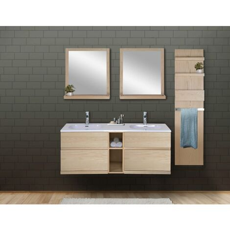 Ensemble salle de bain chêne 140 cm meuble + vasque + 2 miroirs + module rangement ENIO - Bois Clair