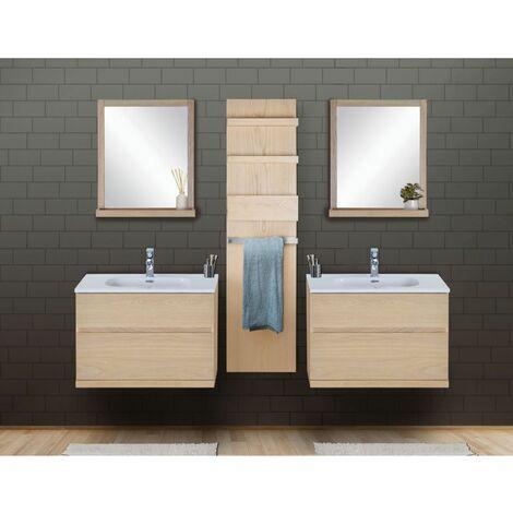 Ensemble salle de bain chêne 2 meubles 80 cm + 2 miroirs + 1 module rangement ENIO - Bois Clair