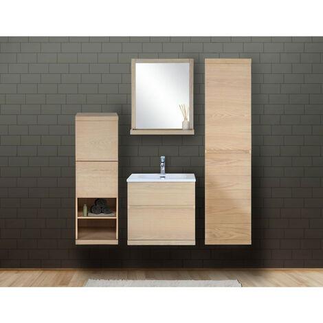 Ensemble salle de bain chêne 60 cm meuble + vasque + miroir + 2 colonnes ENIO - Bois Clair