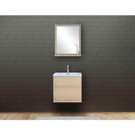 Ensemble salle de bain chêne 60 cm meuble + vasque + miroir ENIO - Bois Clair