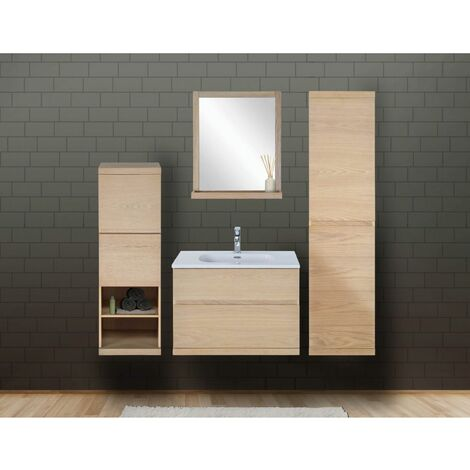 Ensemble salle de bain chêne 80 cm meuble + vasque + miroir + 2 colonnes ENIO