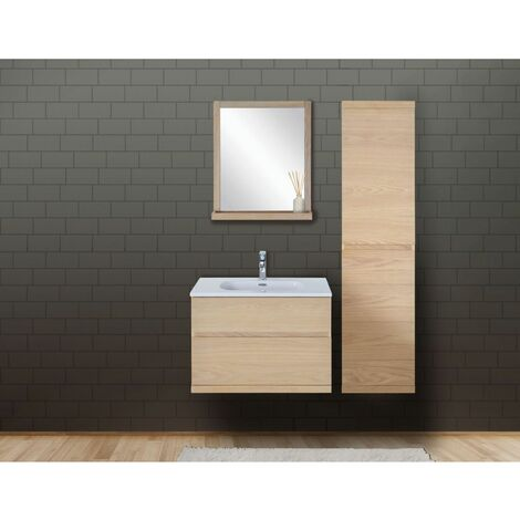 Ensemble salle de bain chêne 80 cm meuble + vasque + miroir + colonne ENIO
