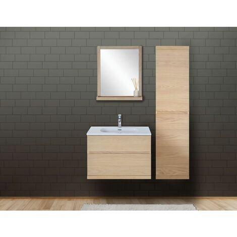 Ensemble salle de bain chêne 80 cm meuble + vasque + miroir + colonne ENIO - Bois Clair