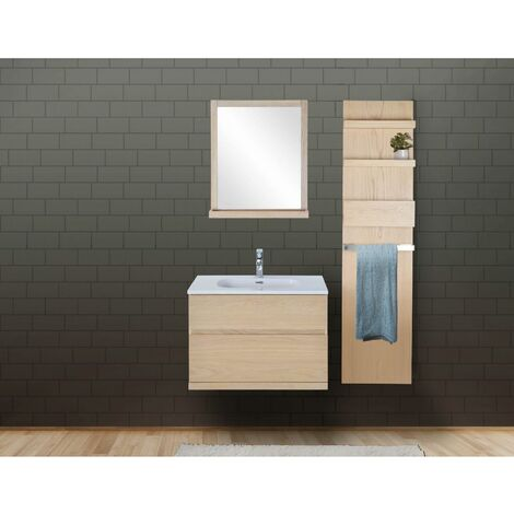 Ensemble salle de bain chêne 80 cm meuble + vasque + miroir + module rangement ENIO