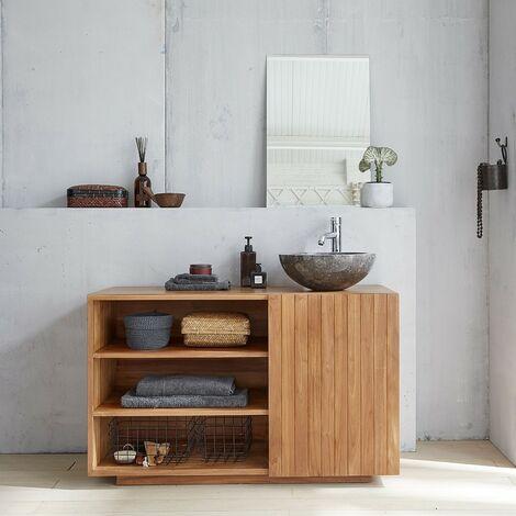Ensemble salle de bain en bois de teck 120 - Vasque -