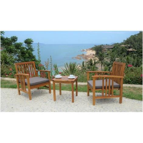 Ensemble salon de jardin 2 places - 1 table et 2 fauteuils - En bois ...