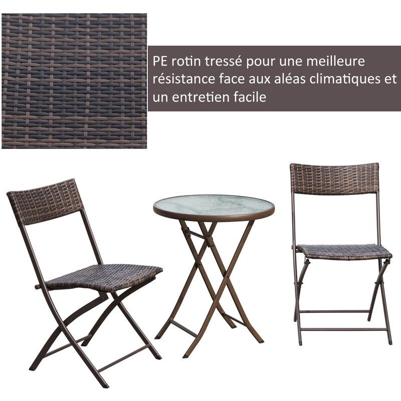 Ensemble salon de jardin 2 places table ronde pliable plateau verre trempé  chaises pliantes résine tressée chocolat