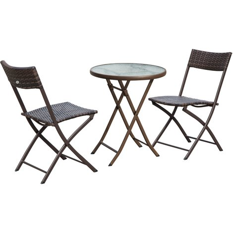 Ensemble salon de jardin 2 places table ronde pliable ...