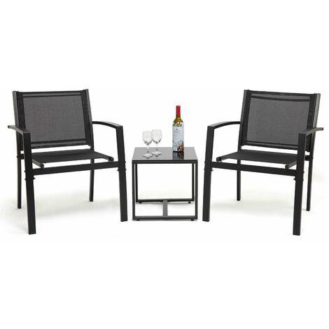 Ensemble Salon de Jardin 3 pcs - 2 Chaises et 1 Table en Verre trempé pour Jardin, Terrasse, Noir - IntimaTe WM Heart
