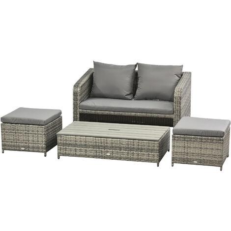 Ensemble salon de jardin 4 places : canapé, 2 poufs et table basse relevable coussins résine tressée imitation rotin gris