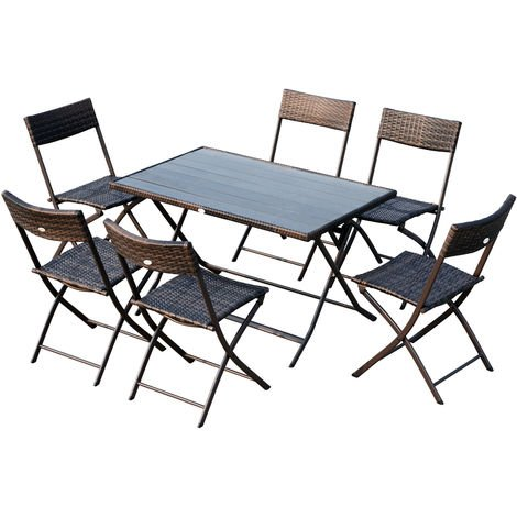 Ensemble salon de jardin 6 personnes grande table rectangulaire ...