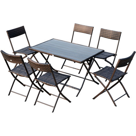 Ensemble salon de jardin 6 personnes grande table rectangulaire pliable + 6 chaises pliantes métal résine tressée PS chocolat