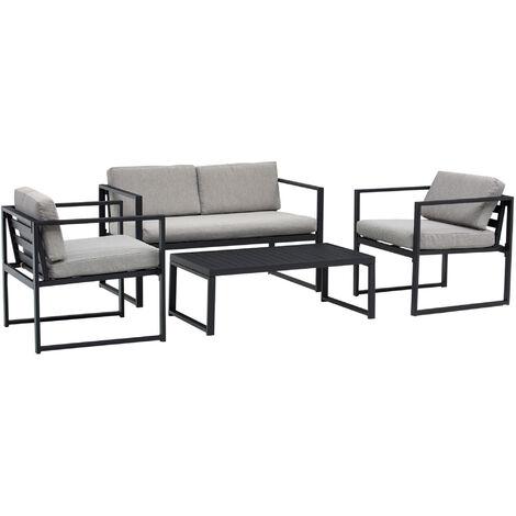 Ensemble salon de jardin design contemporain style yachting 4 places coussins gris clair table basse alu. noir