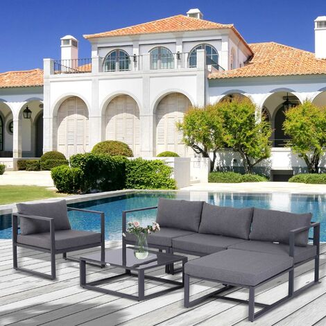 Ensemble salon de jardin design contemporain style yachting 5 places ...