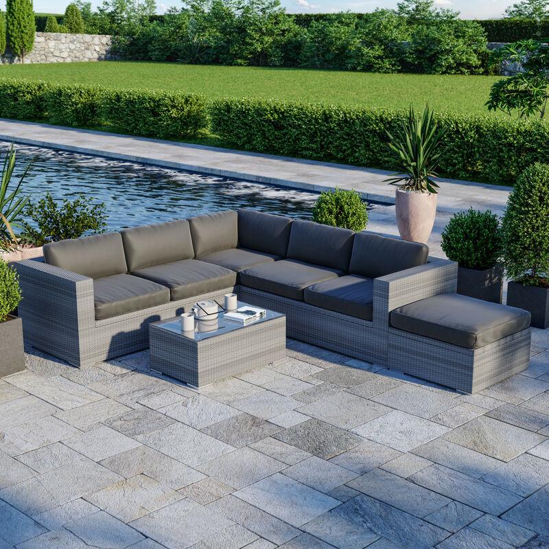 Salon de jardin résine tressée d'angle fonctionnel avec coffre de rangement intégré - gris - FARENZA - Gris